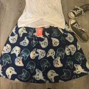 ModCloth-NWT Cats in Space Midi Skirt